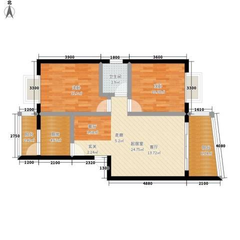 怡馨花园2室0厅1卫1厨78.00㎡户型图
