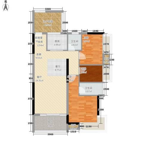 中信左岸3室0厅2卫1厨117.00㎡户型图