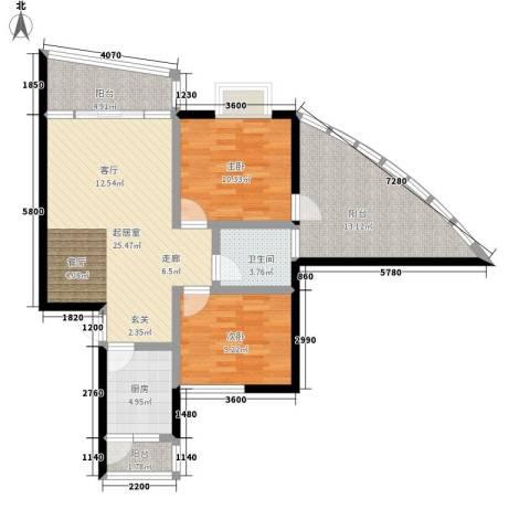 怡馨花园2室0厅1卫1厨81.00㎡户型图