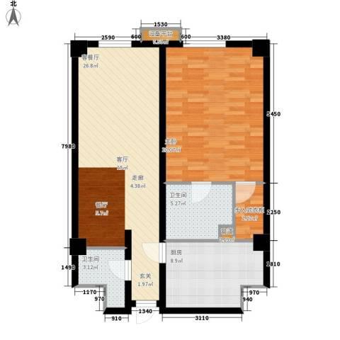海悦国际1室1厅2卫1厨95.00㎡户型图