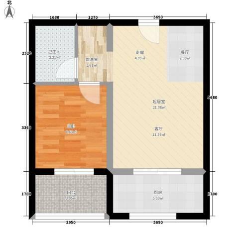 华林都市家园二期1室0厅1卫1厨50.00㎡户型图