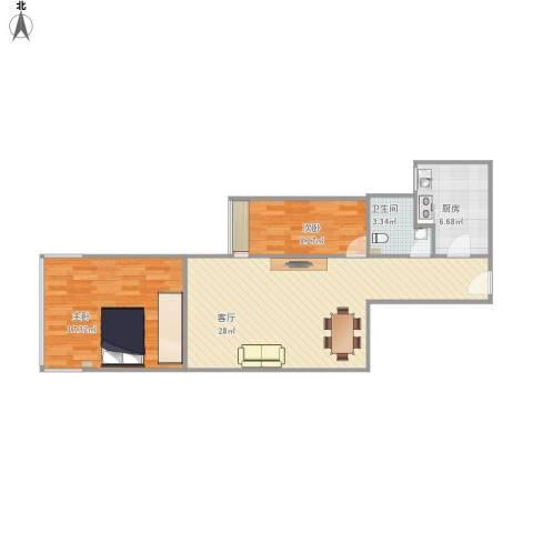 华天国际广场2室1厅1卫1厨85.00㎡户型图