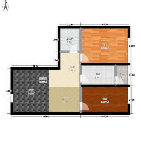 瀚景名座2室0厅1卫1厨99.00㎡户型图