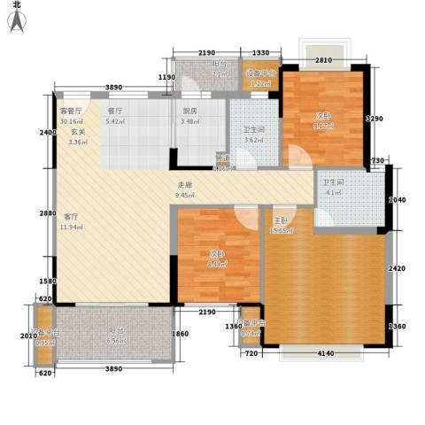簪花岭塘坑新村3室1厅2卫1厨119.00㎡户型图