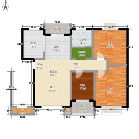华林都市家园二期3室0厅1卫1厨107.00㎡户型图