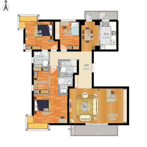 新江湾城尚浦领世3室1厅3卫1厨214.00㎡户型图