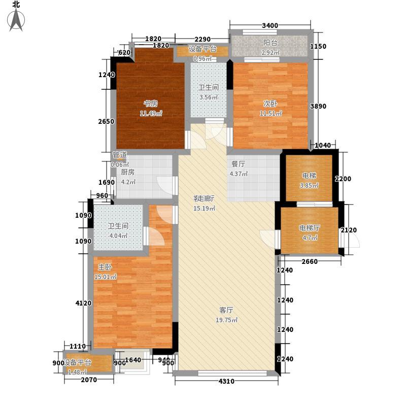 湖湘林语122.10㎡二期24号楼标准层2号户型