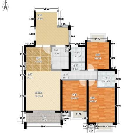 湘江世纪城鸿江苑3室0厅2卫1厨149.00㎡户型图