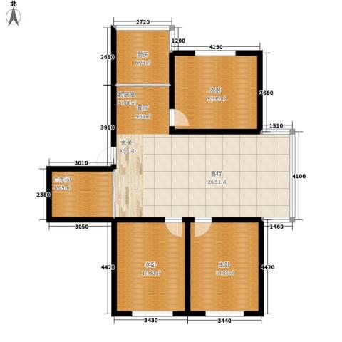 钻石礼都一期3室0厅1卫1厨100.00㎡户型图