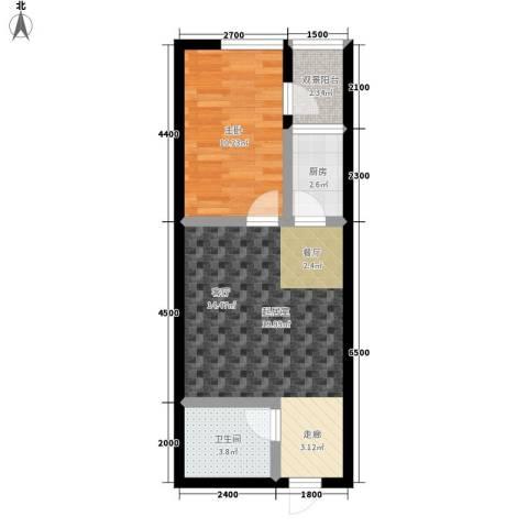 瀚景名座1室0厅1卫1厨58.00㎡户型图