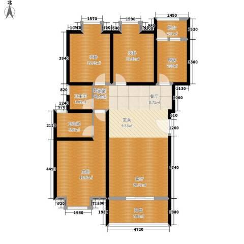中华坊云岭3室0厅2卫1厨130.00㎡户型图