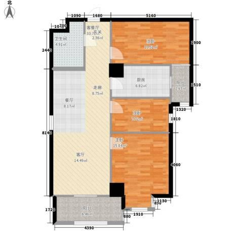 幸福逸家3室1厅1卫1厨103.00㎡户型图