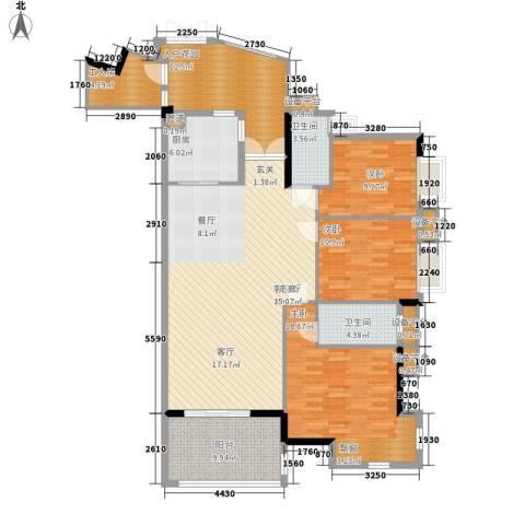 富力院士庭3室1厅2卫1厨144.00㎡户型图