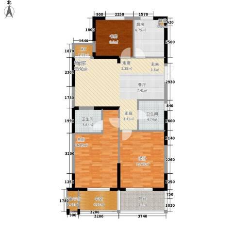 佳源广场3室0厅2卫1厨111.00㎡户型图