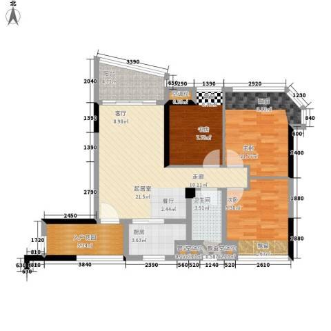 碧桂园椰城3室0厅1卫1厨80.54㎡户型图