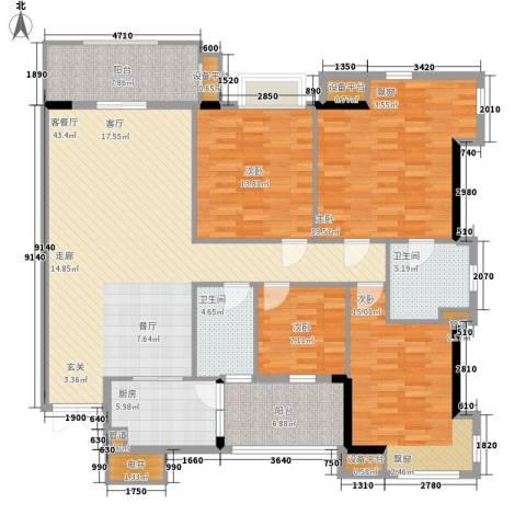 富力院士庭4室1厅2卫1厨155.00㎡户型图
