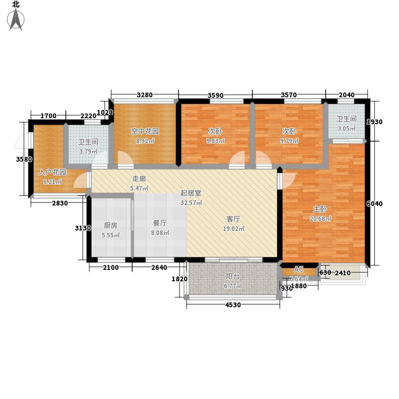 江与城139.00㎡F三室两厅两卫户型3室2厅2卫