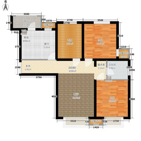 宝利国际广场云观公寓3室0厅1卫1厨122.00㎡户型图