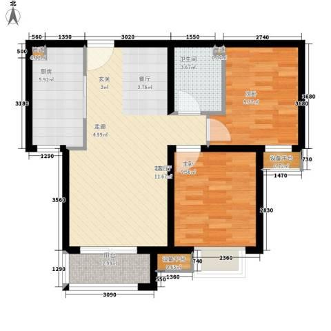 质检局家属院2室1厅1卫1厨82.00㎡户型图