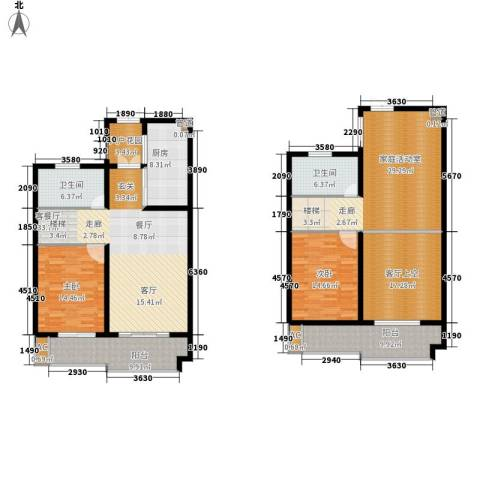 铭洋盛世钱门2室1厅2卫1厨175.00㎡户型图