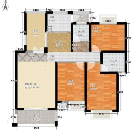 湘江世纪城鸿江苑3室0厅2卫1厨151.00㎡户型图