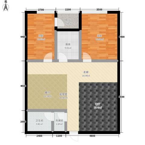 瀚景名座2室0厅1卫1厨117.00㎡户型图