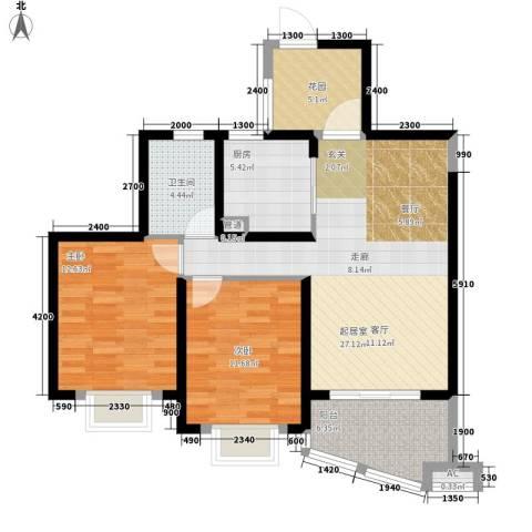 湘江世纪城鸿江苑2室0厅1卫1厨105.00㎡户型图