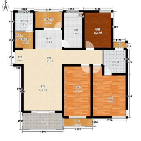 铭洋盛世钱门3室1厅2卫1厨141.00㎡户型图