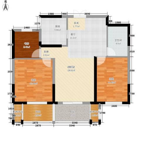 佳源广场3室0厅1卫1厨94.00㎡户型图