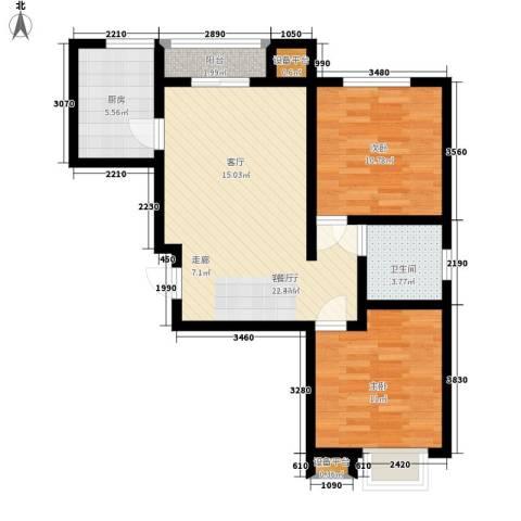 锦绣苑2室1厅1卫1厨78.00㎡户型图