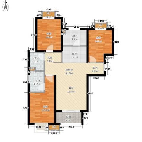 青门新区3室0厅2卫1厨118.00㎡户型图