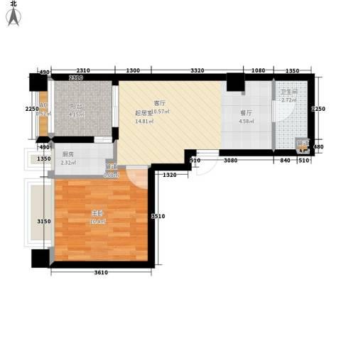 锦业时代1室0厅1卫1厨51.00㎡户型图