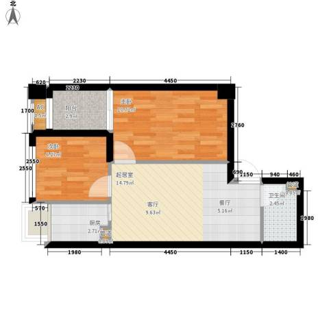 锦业时代2室0厅1卫1厨58.00㎡户型图