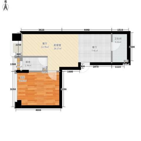 锦业时代1室0厅1卫1厨49.00㎡户型图