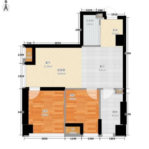 锦业时代2室0厅1卫1厨64.00㎡户型图