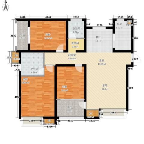 香格里拉花园3室0厅2卫1厨164.00㎡户型图