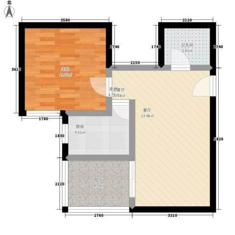 雅逸新城1室1厅1卫1厨59.00㎡户型图
