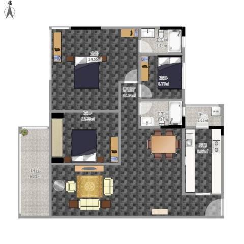 盈彩美地3室1厅2卫1厨153.00㎡户型图