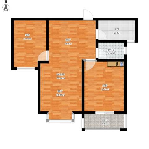 东方世纪城2室1厅1卫1厨115.00㎡户型图