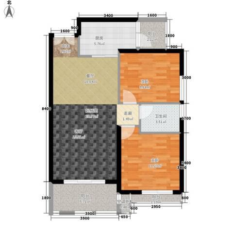 绿色晴川2室0厅1卫1厨98.00㎡户型图