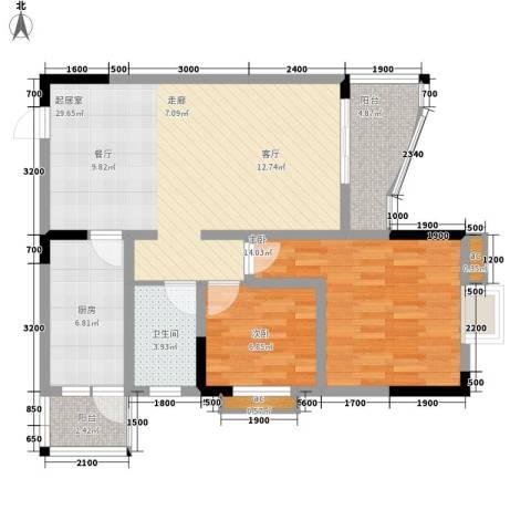 青河世家2室0厅1卫1厨75.00㎡户型图