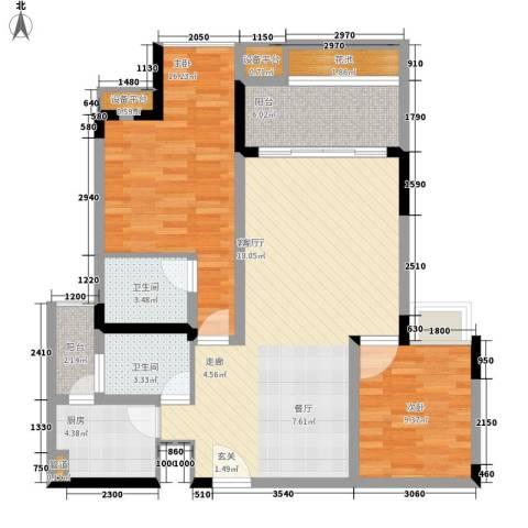 龙景花园2室1厅2卫1厨117.00㎡户型图