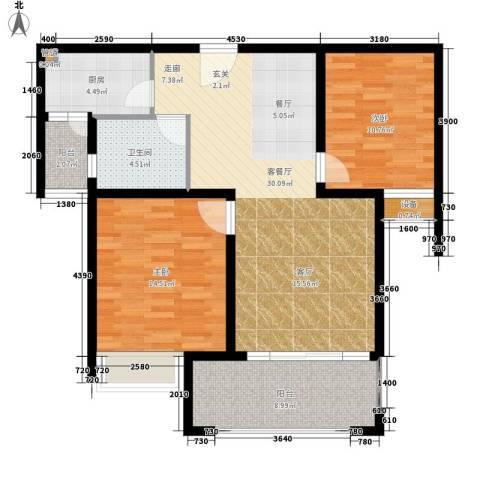 中南世纪城2室1厅1卫1厨90.00㎡户型图