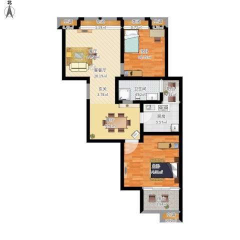 国金华府2室1厅1卫1厨109.00㎡户型图