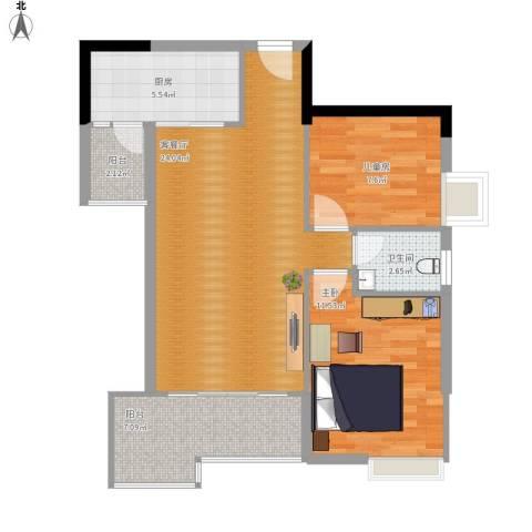 国明・皇御苑2室1厅1卫1厨85.00㎡户型图