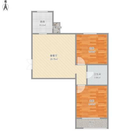 幸福家园2室1厅1卫1厨69.00㎡户型图