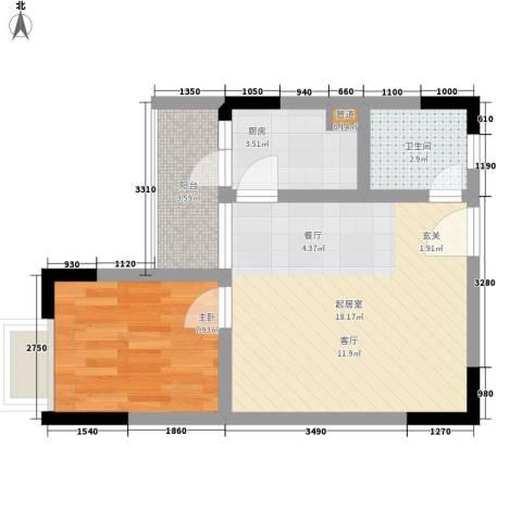 天河名港1室0厅1卫1厨40.00㎡户型图