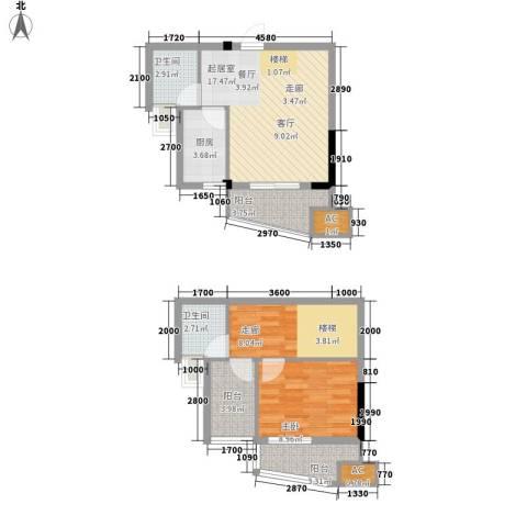 西城龙庭1室0厅2卫1厨83.00㎡户型图