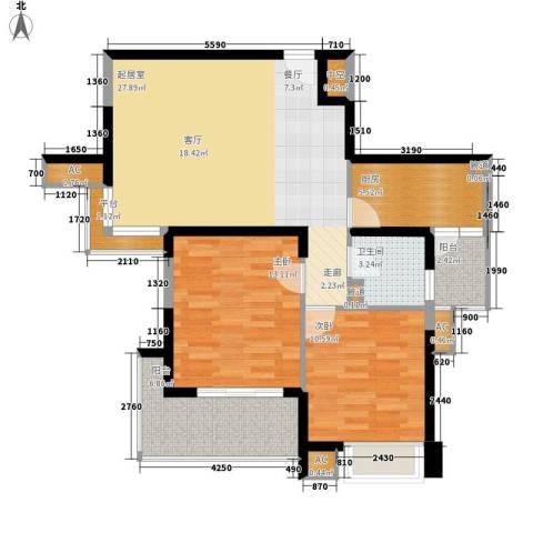 亚东国际公寓2室0厅1卫1厨106.00㎡户型图