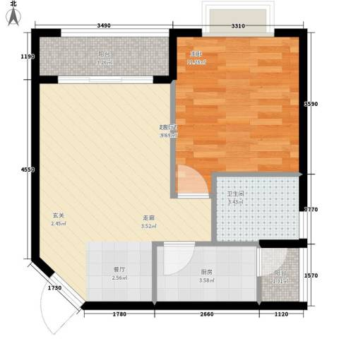 美好星空1室0厅1卫1厨57.00㎡户型图